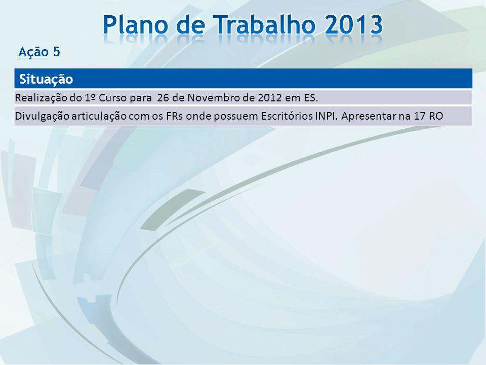 Plano de Trabalho 2013 Situação Ação 5