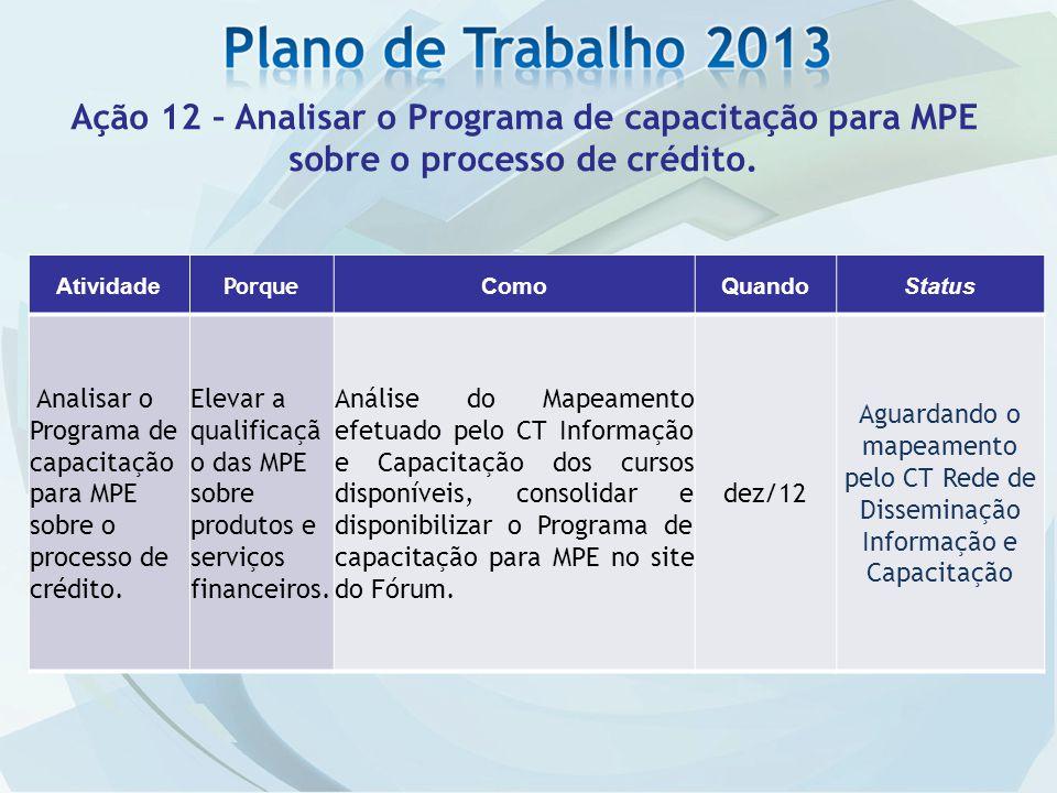 Ação 12 – Analisar o Programa de capacitação para MPE sobre o processo de crédito.