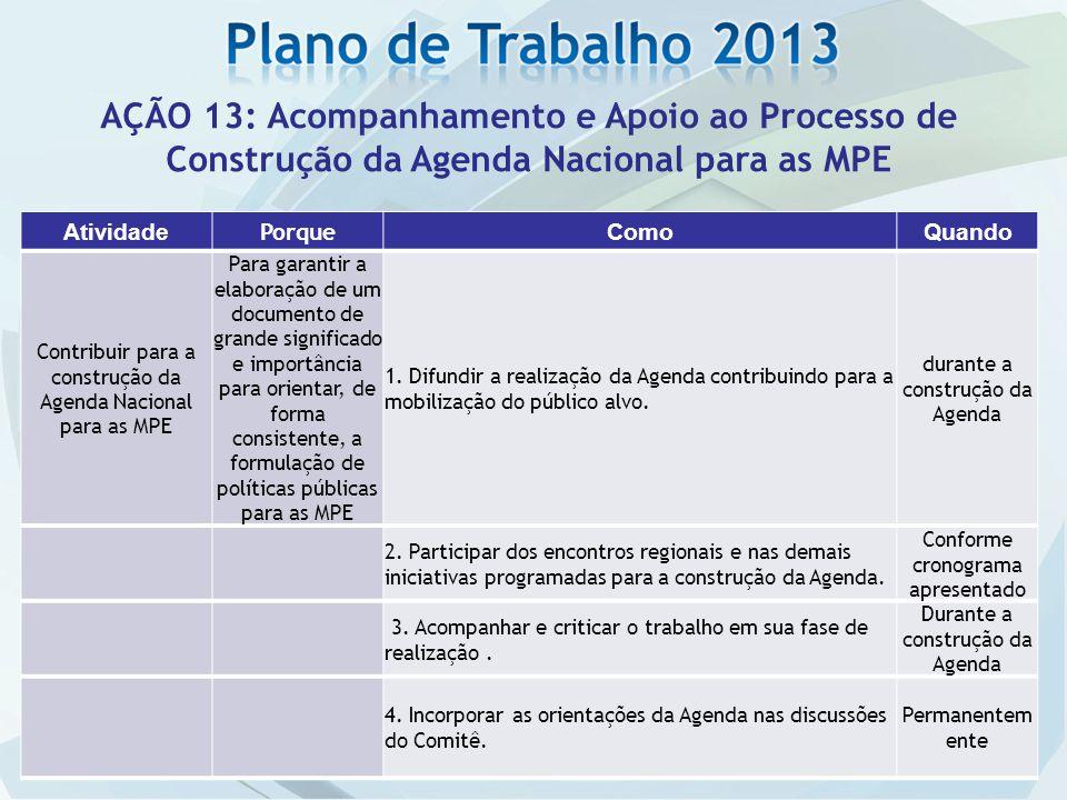AÇÃO 13: Acompanhamento e Apoio ao Processo de Construção da Agenda Nacional para as MPE