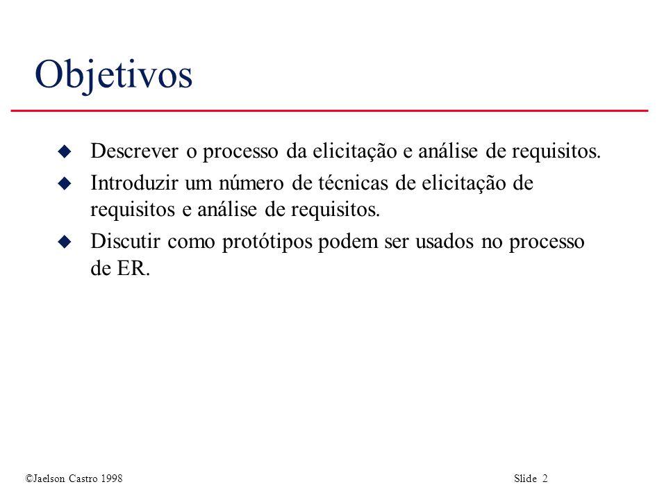 Objetivos Descrever o processo da elicitação e análise de requisitos.