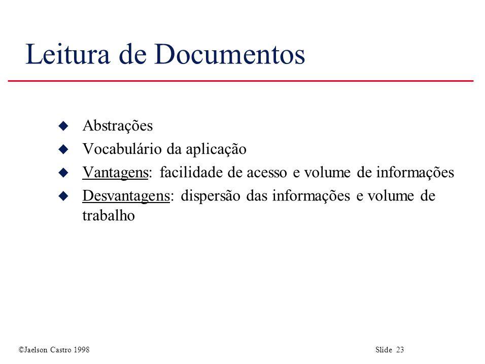 Leitura de Documentos Abstrações Vocabulário da aplicação