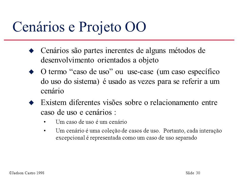 Cenários e Projeto OO Cenários são partes inerentes de alguns métodos de desenvolvimento orientados a objeto.