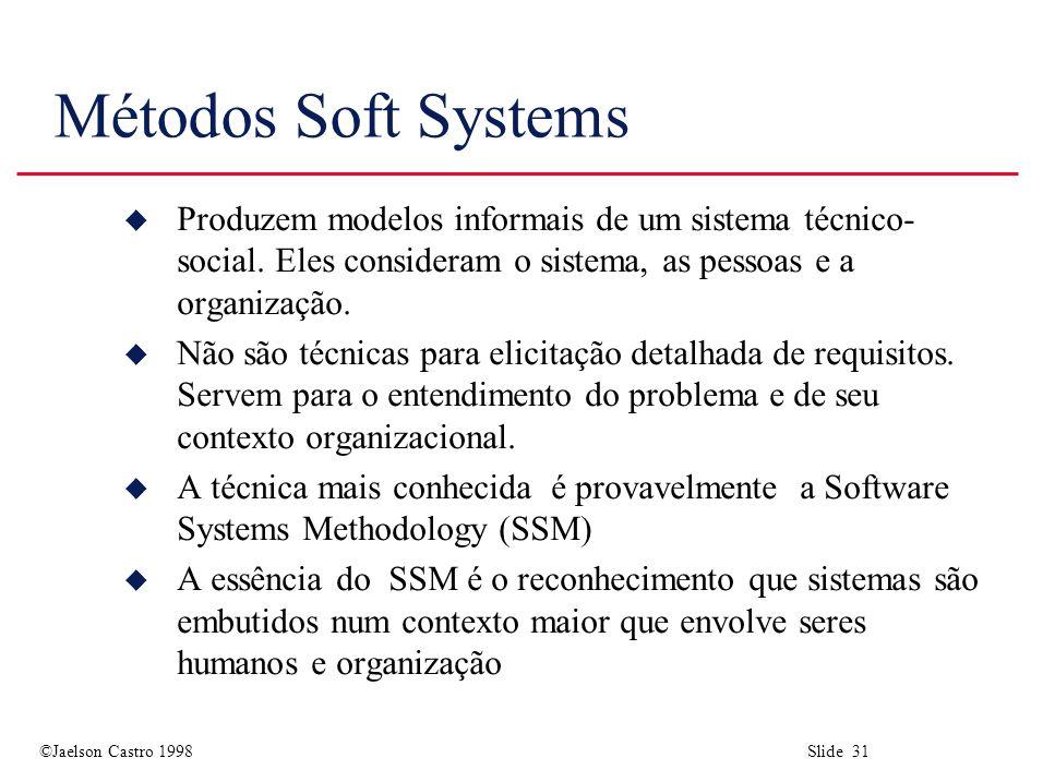 Métodos Soft Systems Produzem modelos informais de um sistema técnico-social. Eles consideram o sistema, as pessoas e a organização.