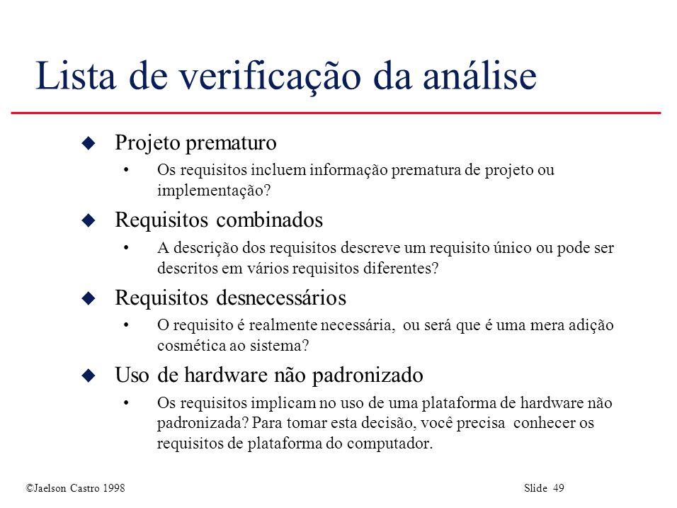 Lista de verificação da análise