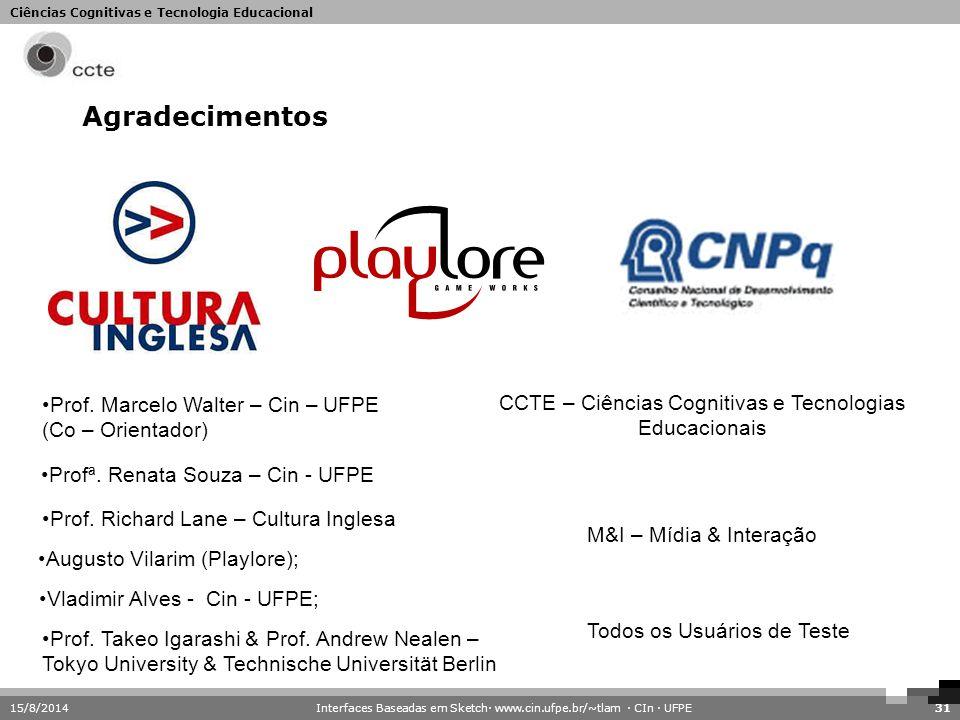 Agradecimentos Prof. Marcelo Walter – Cin – UFPE