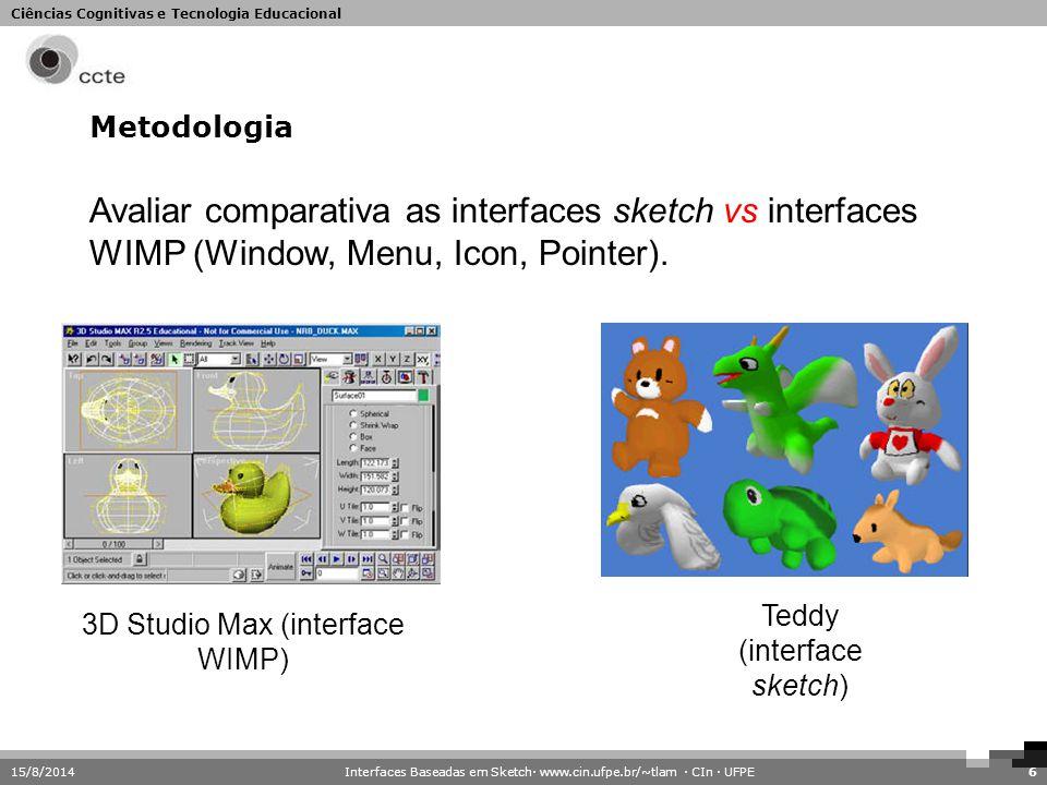 Metodologia Avaliar comparativa as interfaces sketch vs interfaces WIMP (Window, Menu, Icon, Pointer).