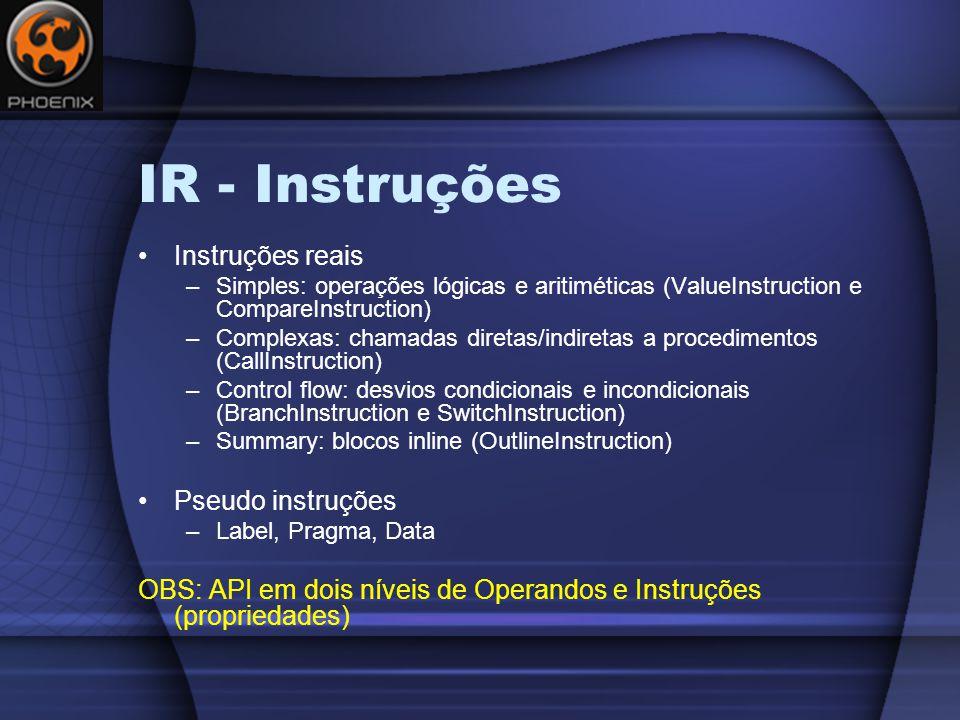 IR - Instruções Instruções reais Pseudo instruções