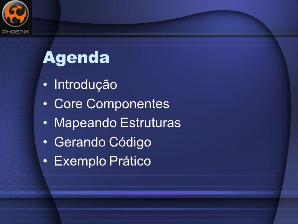 Agenda Introdução Core Componentes Mapeando Estruturas Gerando Código