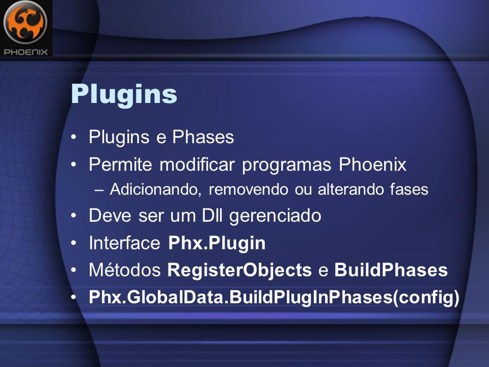 Plugins Plugins e Phases Permite modificar programas Phoenix