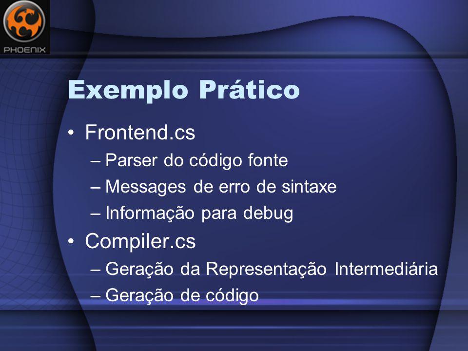 Exemplo Prático Frontend.cs Compiler.cs Parser do código fonte