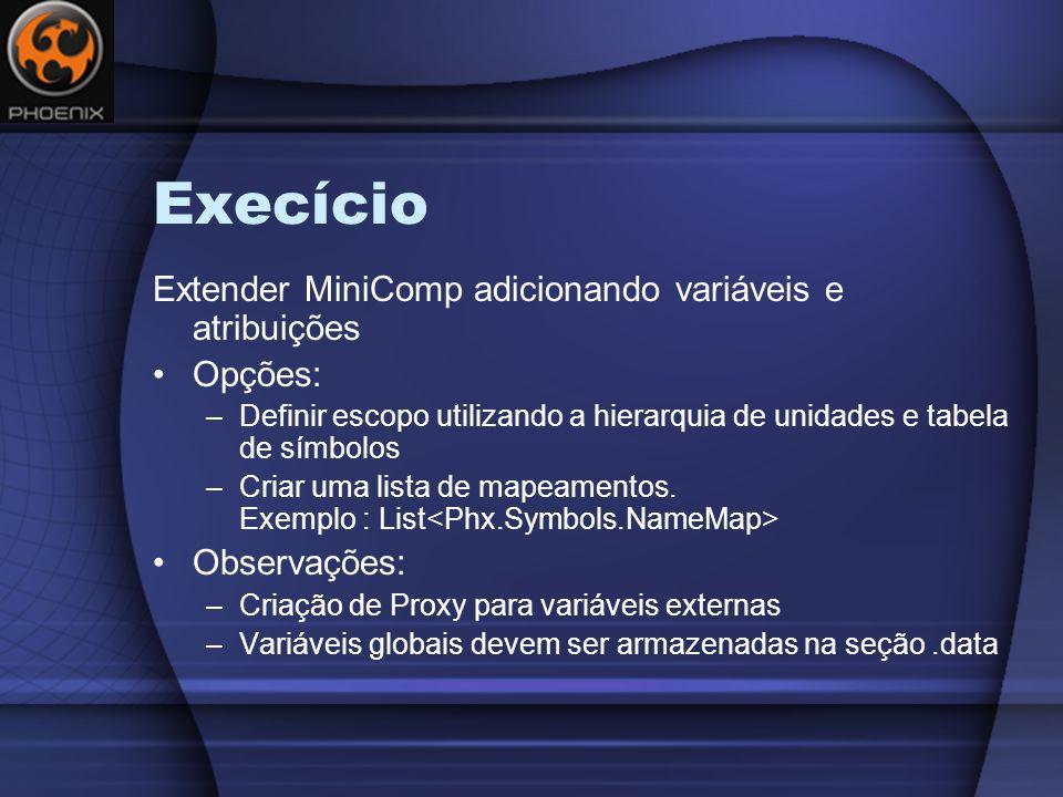 Execício Extender MiniComp adicionando variáveis e atribuições Opções: