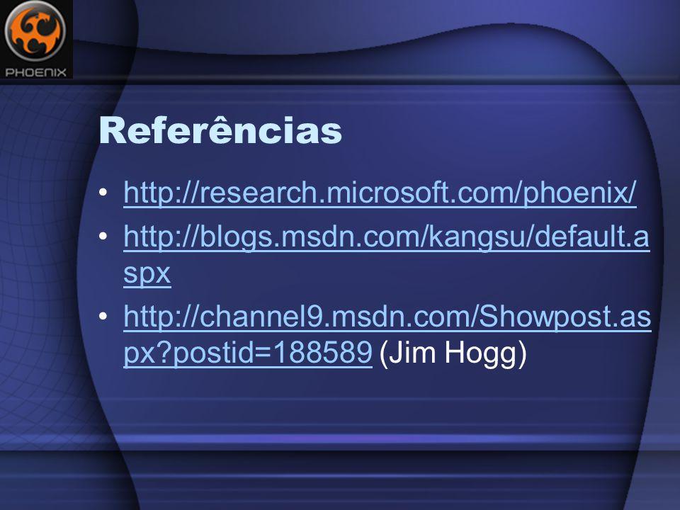Referências http://research.microsoft.com/phoenix/