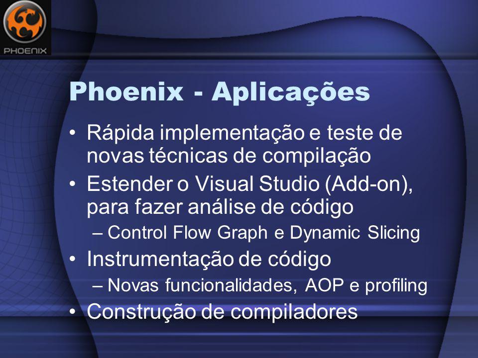 Phoenix - Aplicações Rápida implementação e teste de novas técnicas de compilação. Estender o Visual Studio (Add-on), para fazer análise de código.