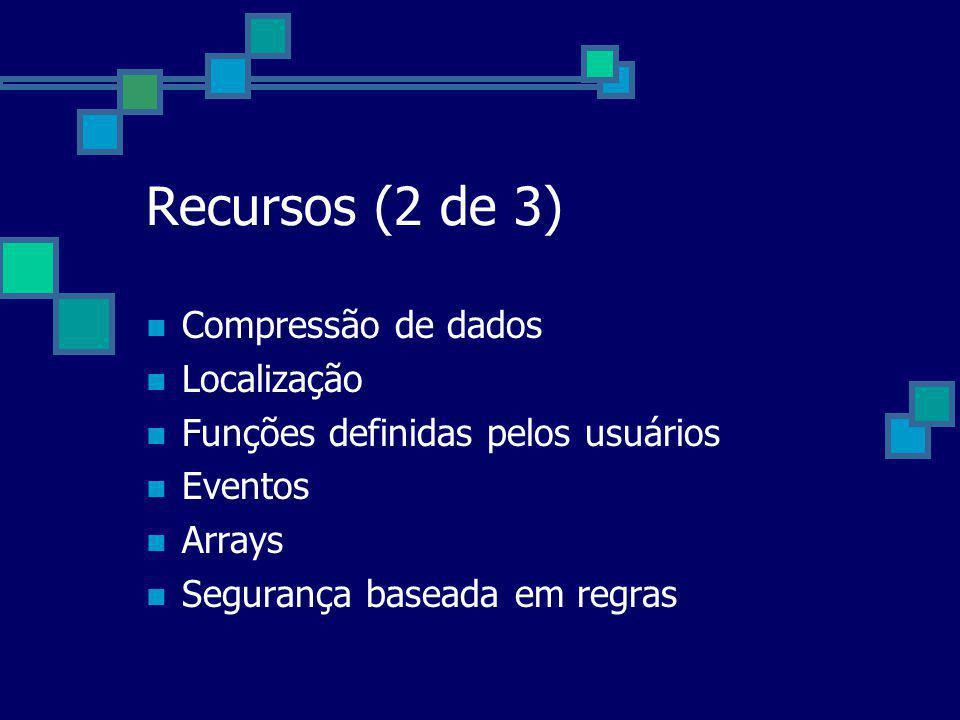 Recursos (2 de 3) Compressão de dados Localização