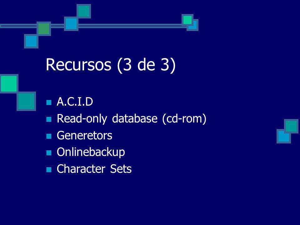 Recursos (3 de 3) A.C.I.D Read-only database (cd-rom) Generetors
