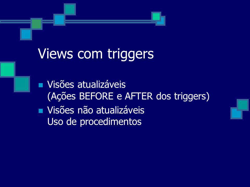 Views com triggers Visões atualizáveis (Ações BEFORE e AFTER dos triggers) Visões não atualizáveis Uso de procedimentos.