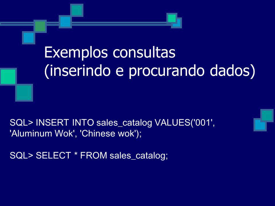 Exemplos consultas (inserindo e procurando dados)