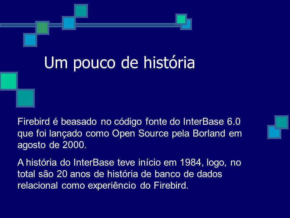 Um pouco de história Firebird é beasado no código fonte do InterBase 6.0 que foi lançado como Open Source pela Borland em agosto de 2000.