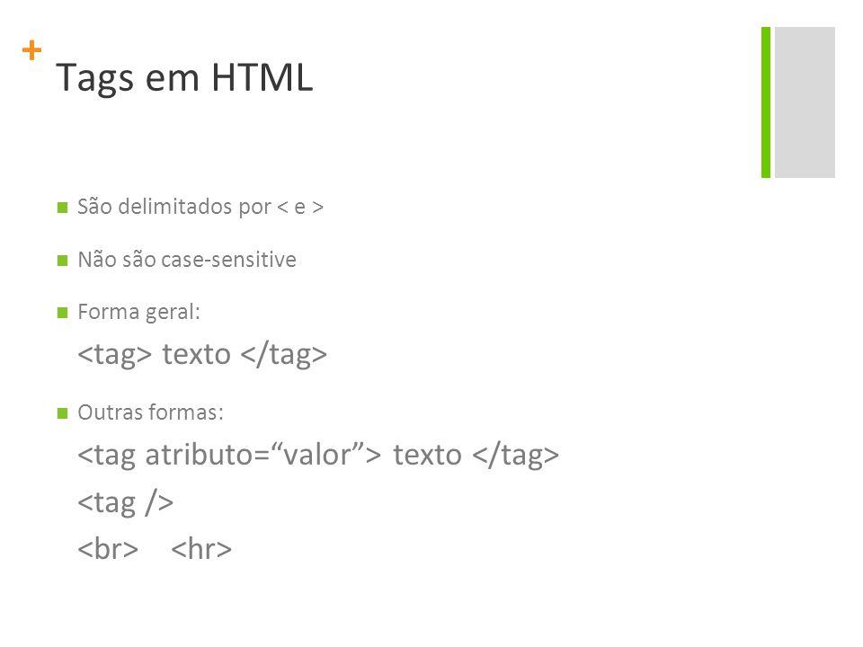 Tags em HTML <tag> texto </tag>