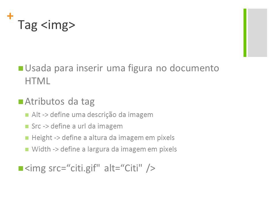Tag <img> Usada para inserir uma figura no documento HTML