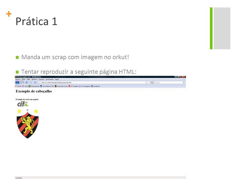 Prática 1 Manda um scrap com imagem no orkut!