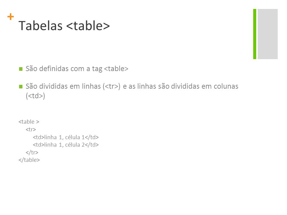 Tabelas <table>