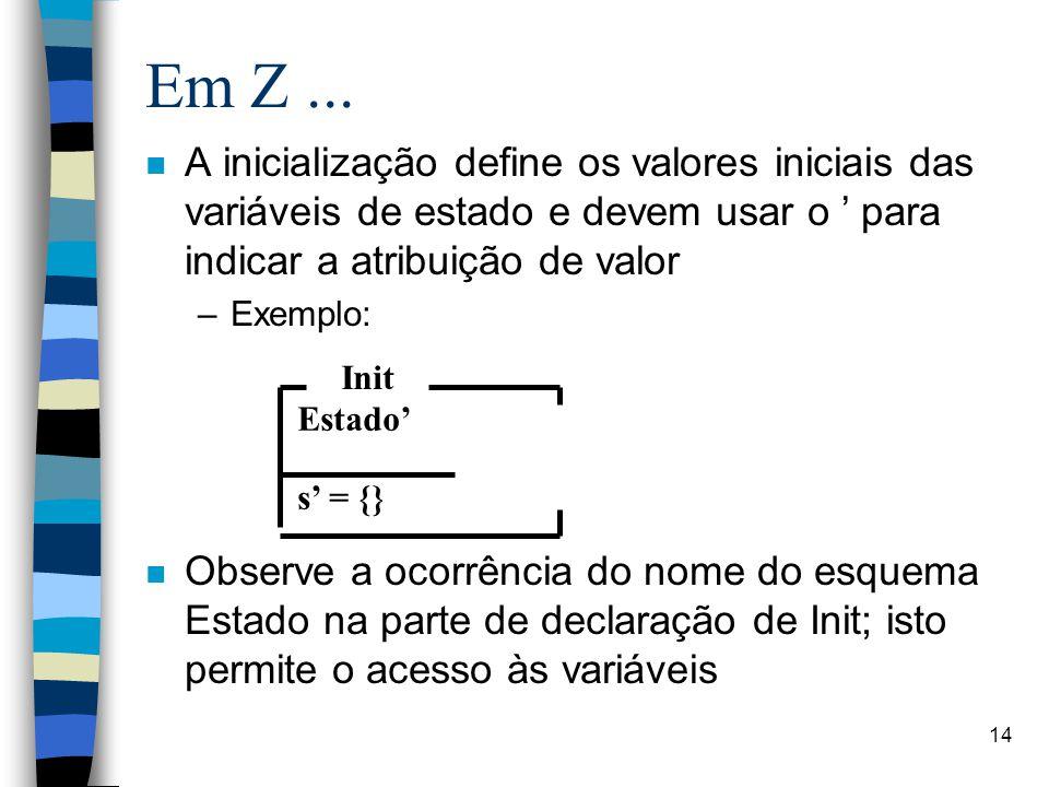 Em Z ... A inicialização define os valores iniciais das variáveis de estado e devem usar o ' para indicar a atribuição de valor.