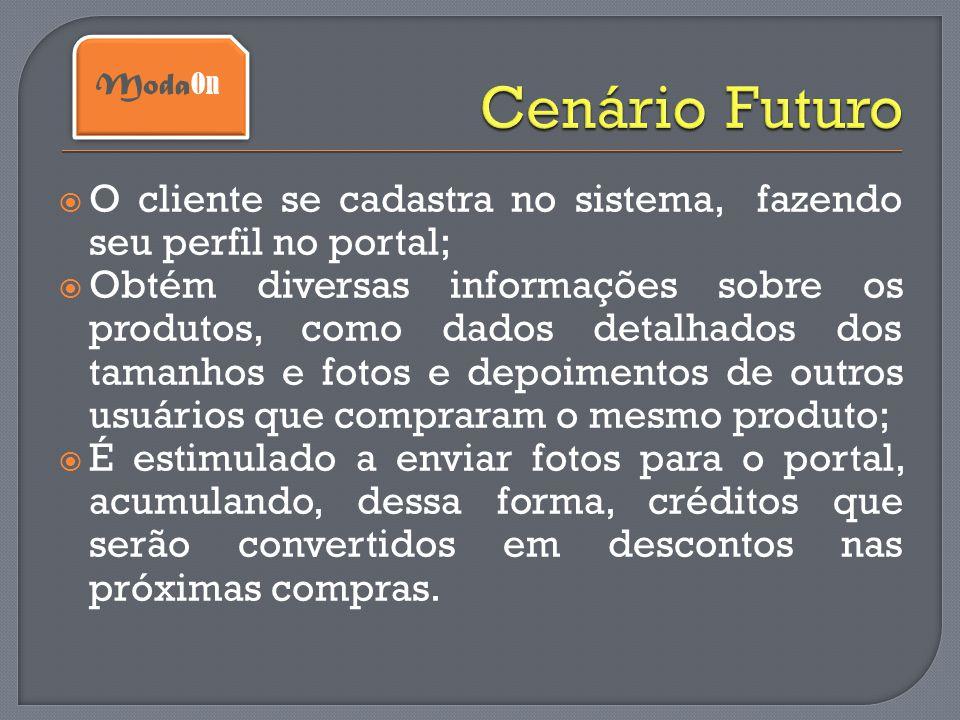 Cenário Futuro ModaOn. O cliente se cadastra no sistema, fazendo seu perfil no portal;