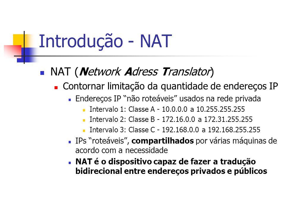 Introdução - NAT NAT (Network Adress Translator)