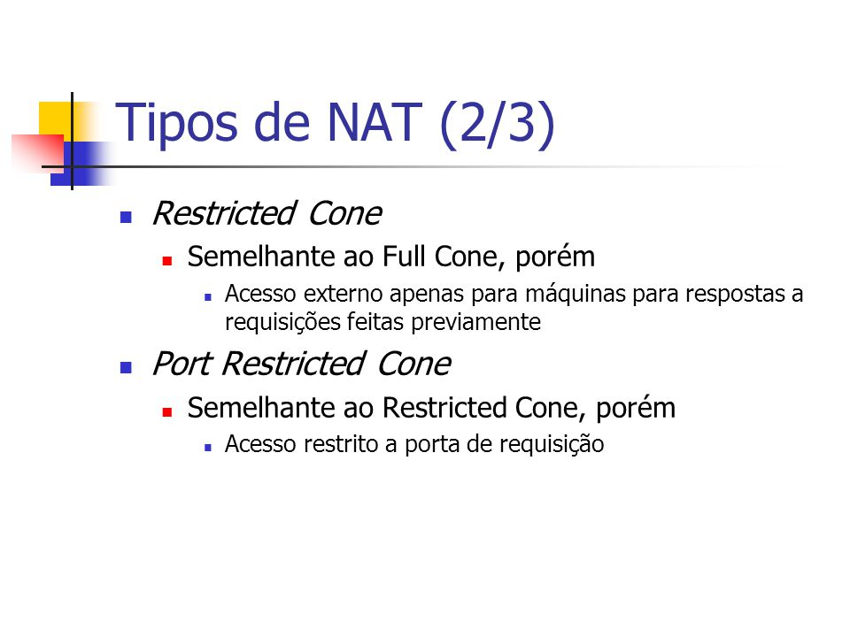 Tipos de NAT (2/3) Restricted Cone Port Restricted Cone