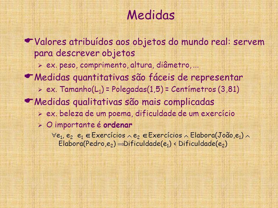Medidas Valores atribuídos aos objetos do mundo real: servem para descrever objetos. ex. peso, comprimento, altura, diâmetro, ...
