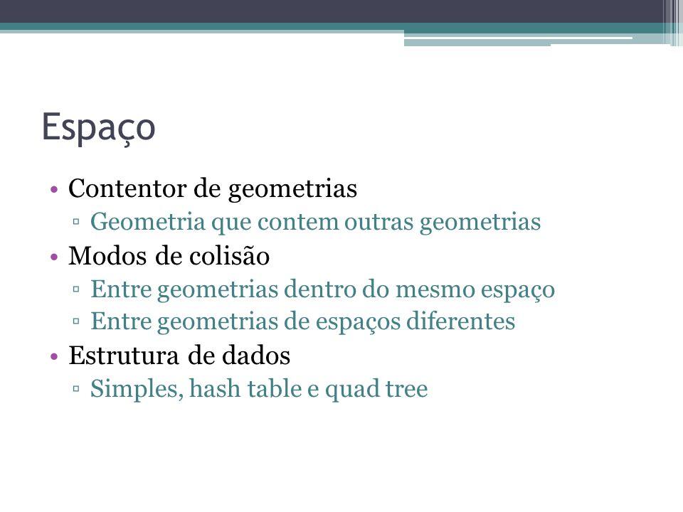 Espaço Contentor de geometrias Modos de colisão Estrutura de dados
