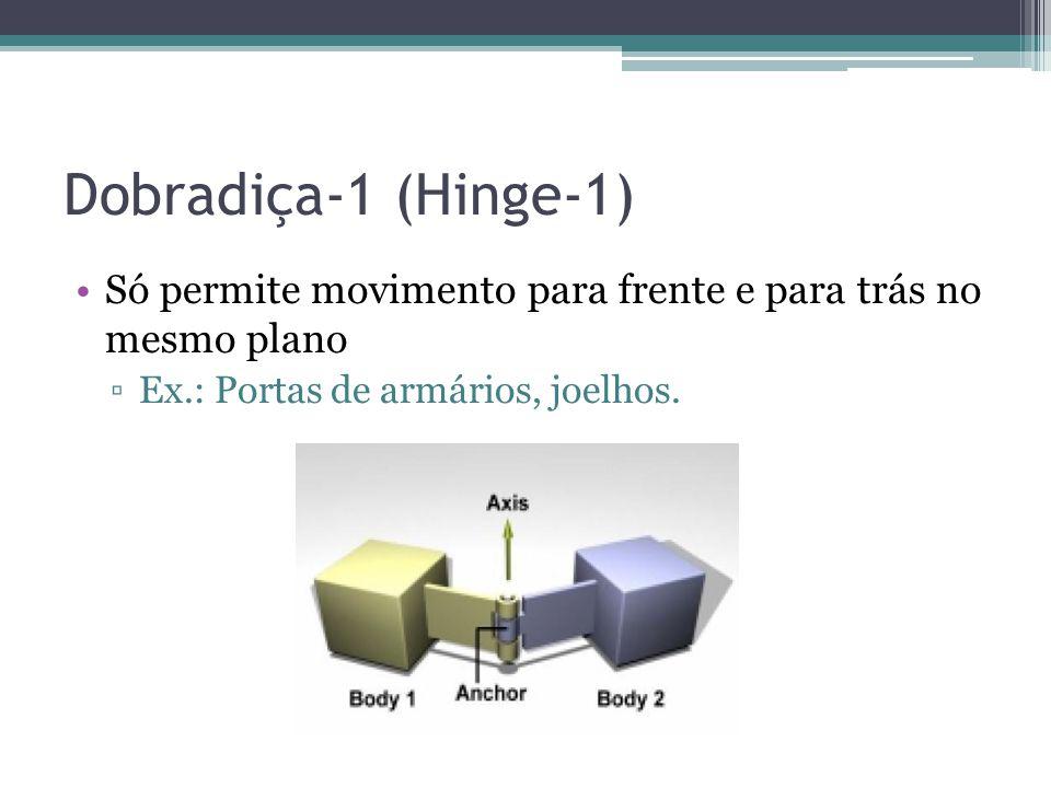 Dobradiça-1 (Hinge-1) Só permite movimento para frente e para trás no mesmo plano.