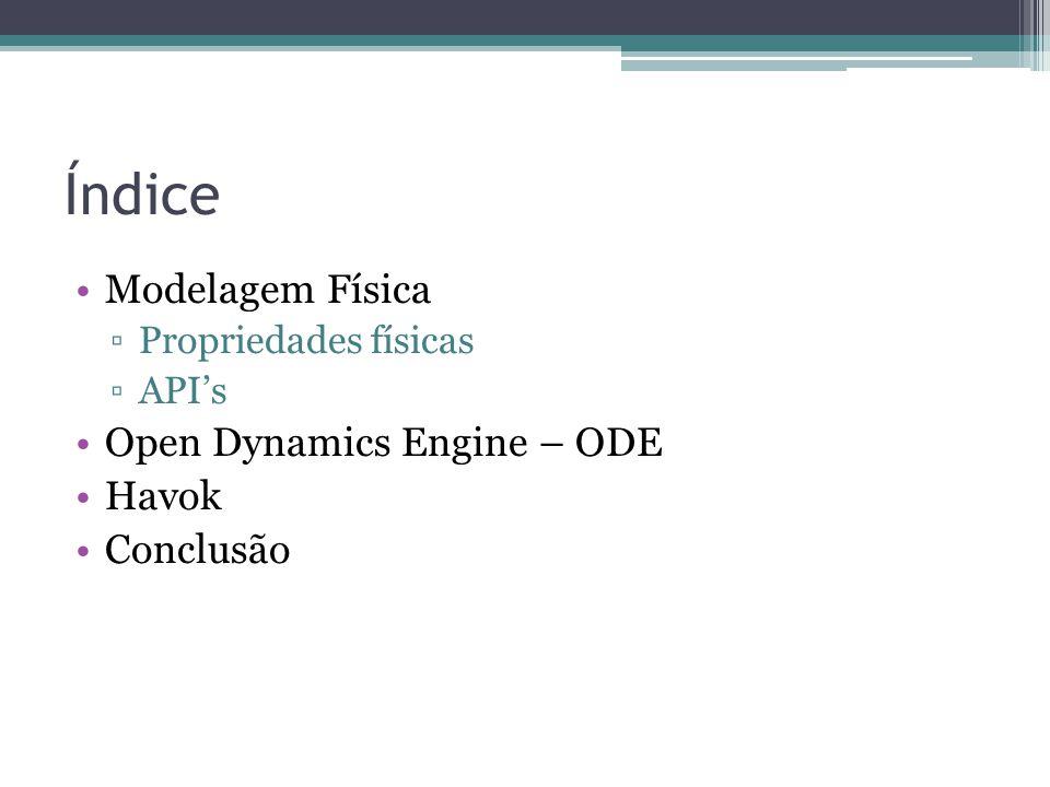 Índice Modelagem Física Open Dynamics Engine – ODE Havok Conclusão
