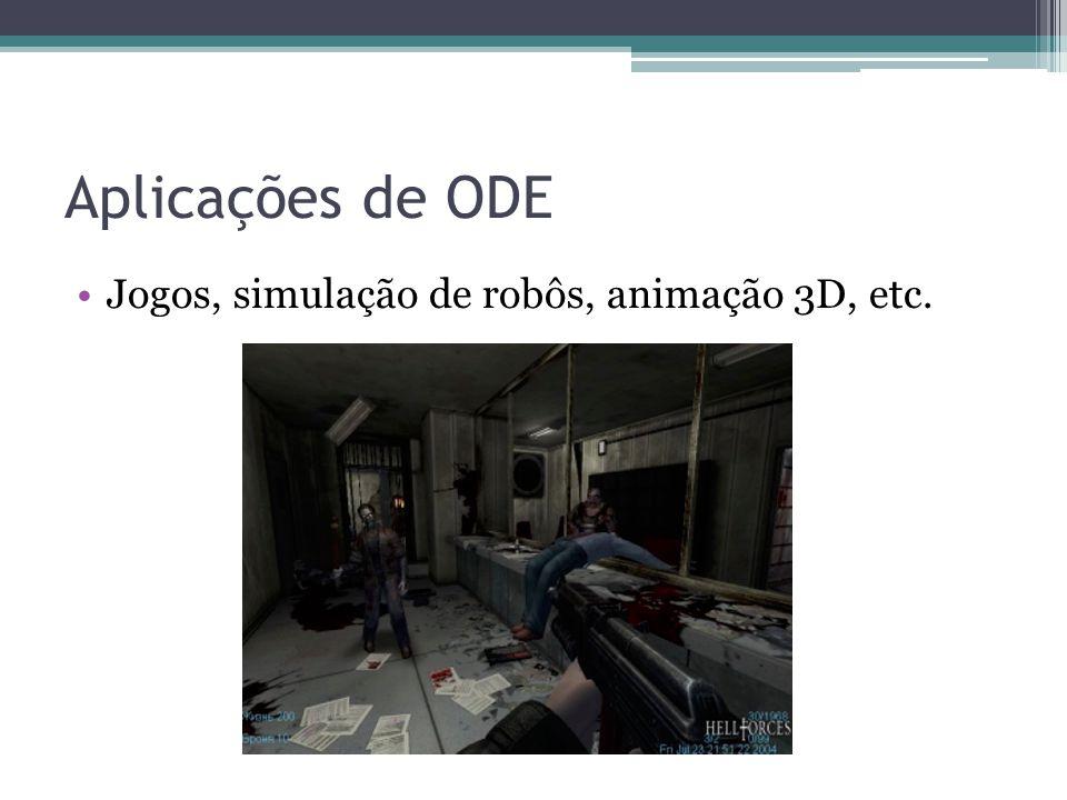Aplicações de ODE Jogos, simulação de robôs, animação 3D, etc.