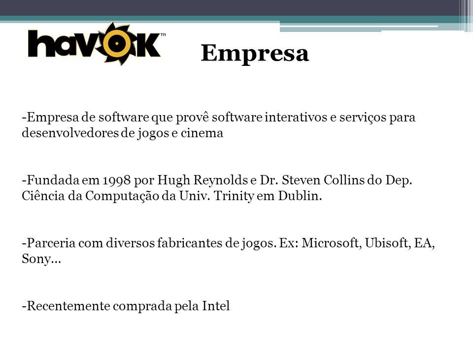 Empresa Empresa de software que provê software interativos e serviços para desenvolvedores de jogos e cinema.