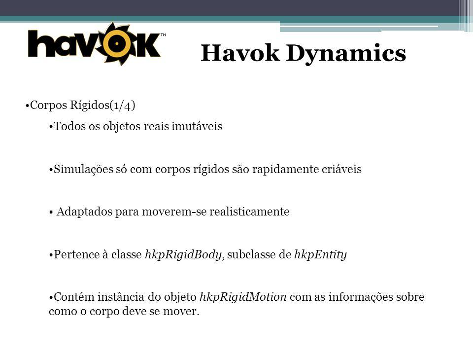 Havok Dynamics Corpos Rígidos(1/4) Todos os objetos reais imutáveis