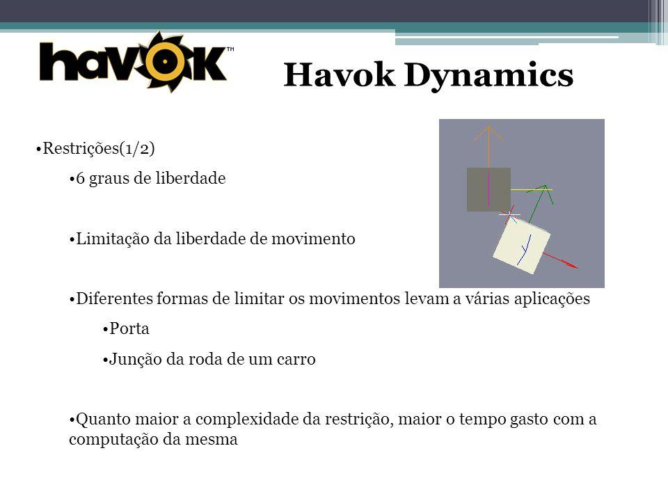 Havok Dynamics Restrições(1/2) 6 graus de liberdade