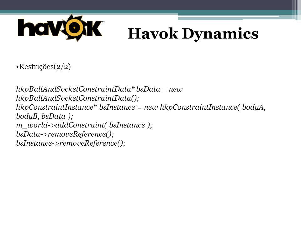 Havok Dynamics Restrições(2/2)