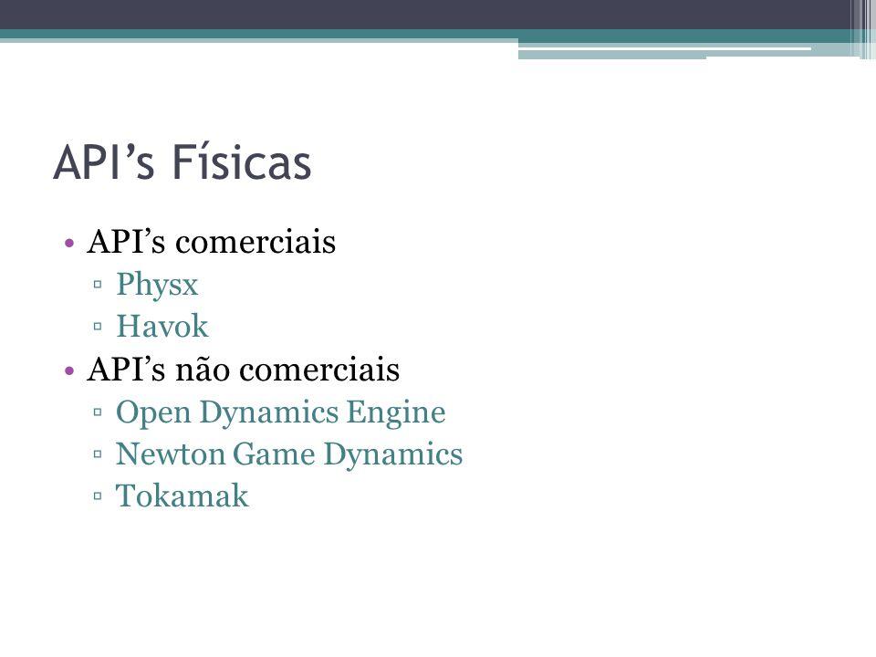 API's Físicas API's comerciais API's não comerciais Physx Havok