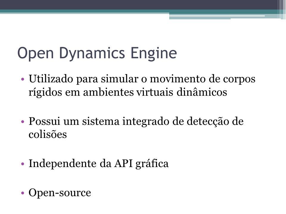 Open Dynamics Engine Utilizado para simular o movimento de corpos rígidos em ambientes virtuais dinâmicos.