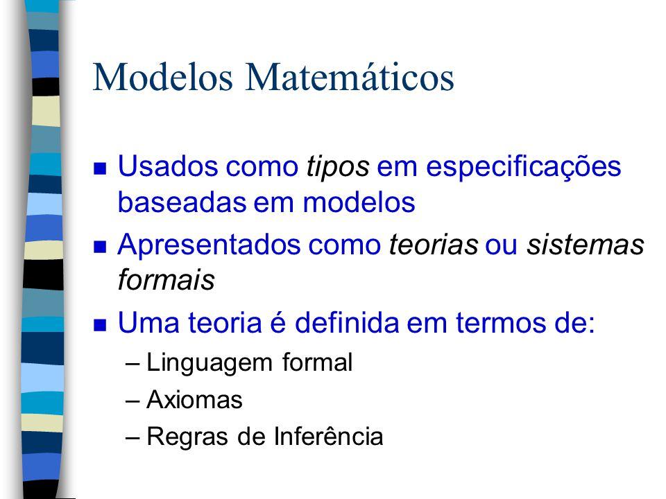 Modelos Matemáticos Usados como tipos em especificações baseadas em modelos. Apresentados como teorias ou sistemas formais.