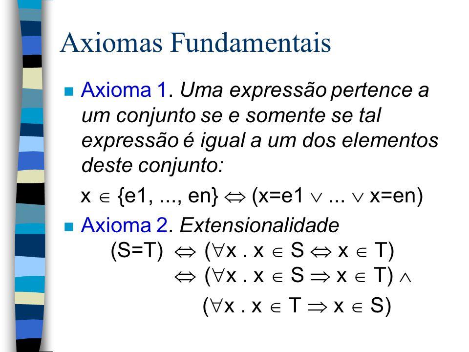 Axiomas Fundamentais Axioma 1. Uma expressão pertence a um conjunto se e somente se tal expressão é igual a um dos elementos deste conjunto: