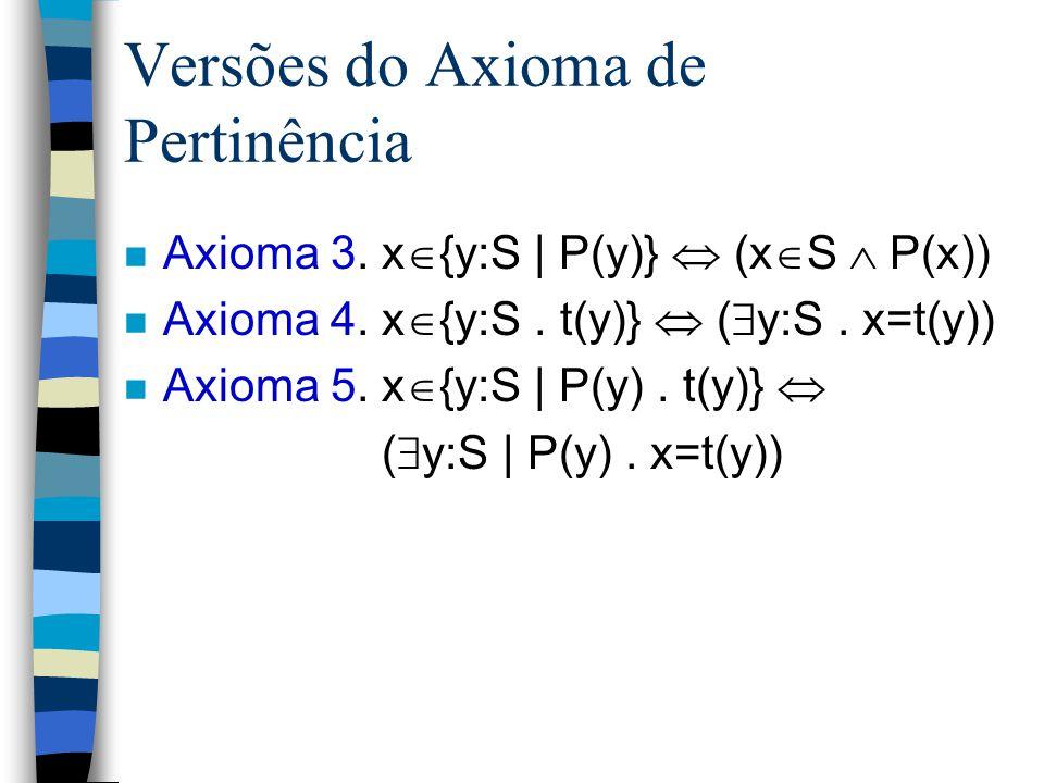 Versões do Axioma de Pertinência
