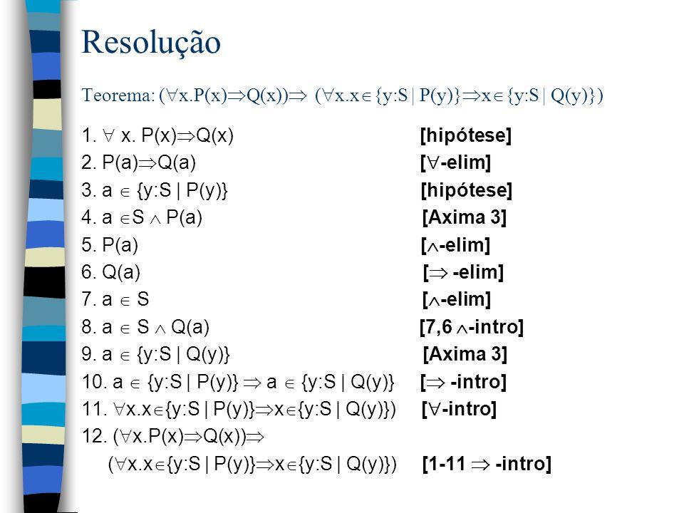 Resolução Teorema: (x.P(x)Q(x)) (x.x{y:S | P(y)}x{y:S | Q(y)})