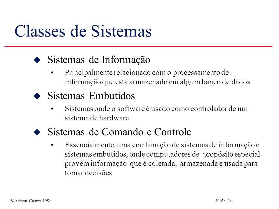 Classes de Sistemas Sistemas de Informação Sistemas Embutidos