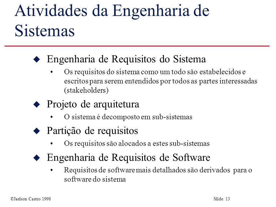 Atividades da Engenharia de Sistemas