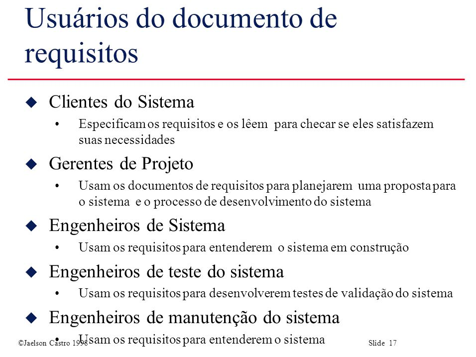 Usuários do documento de requisitos