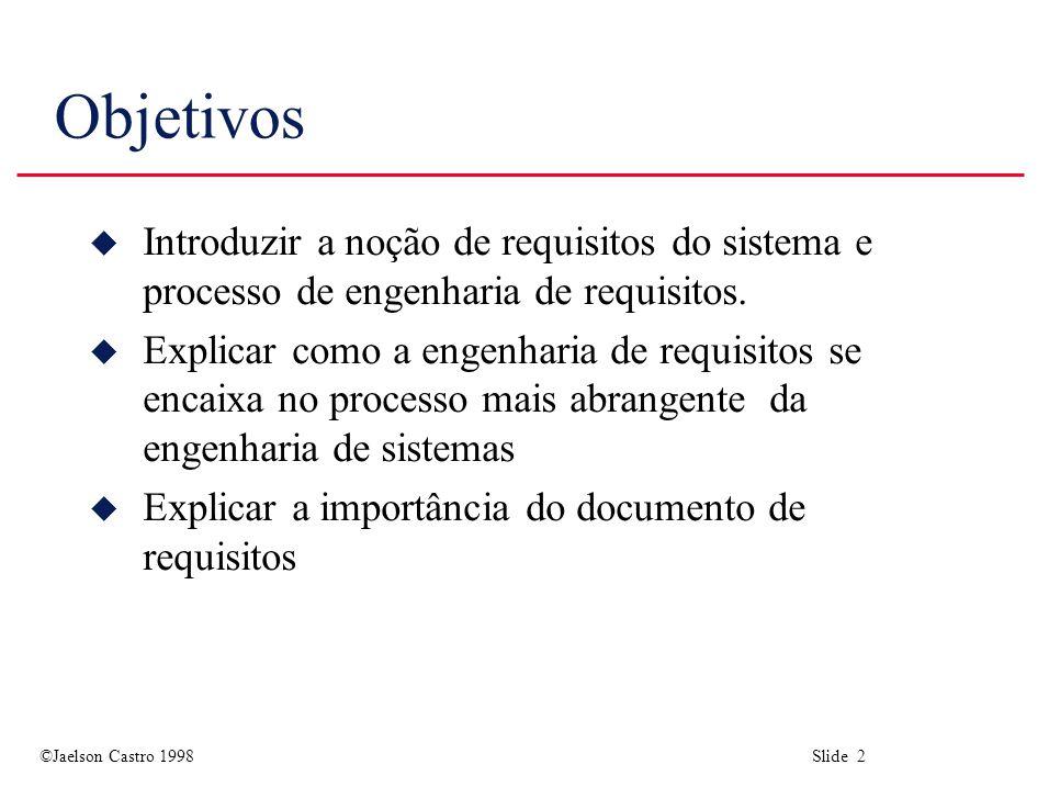 Objetivos Introduzir a noção de requisitos do sistema e processo de engenharia de requisitos.