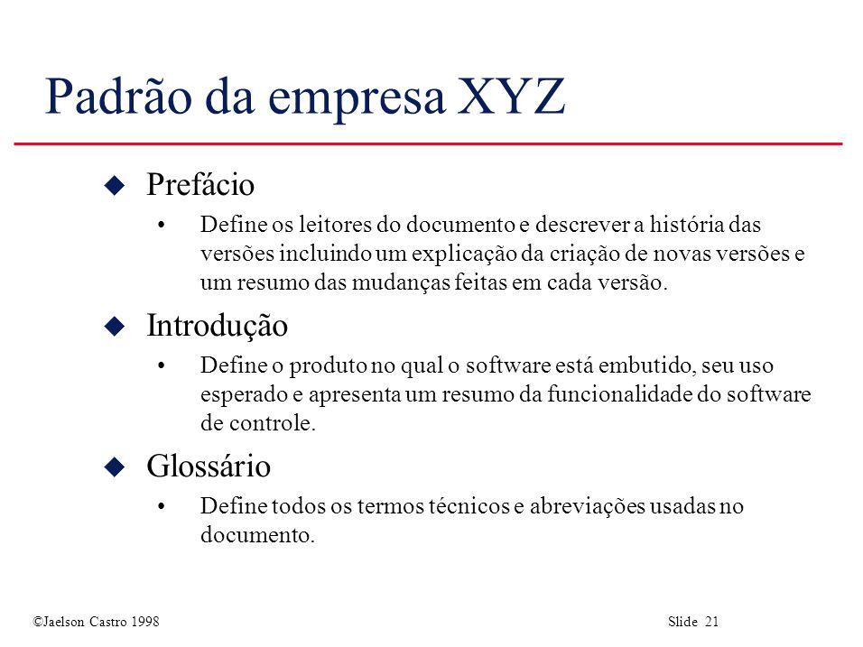 Padrão da empresa XYZ Prefácio Introdução Glossário
